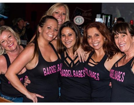 6 waitresses in black tank tops