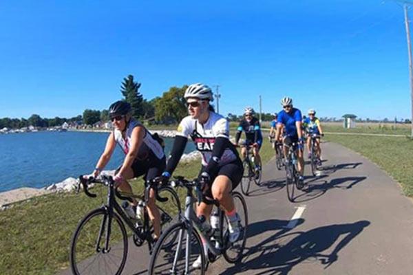 cyclists riding bikes