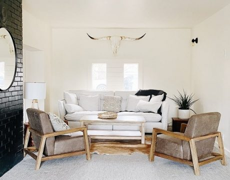 white couch black wall