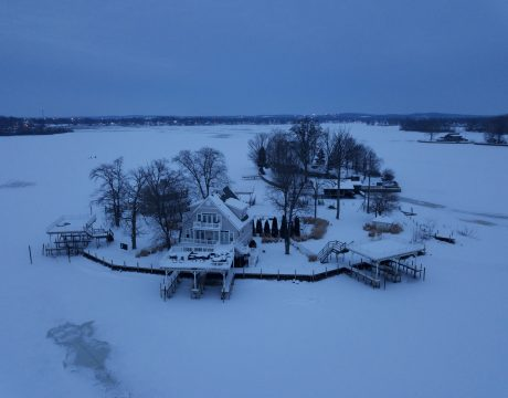 island with homes in the winter