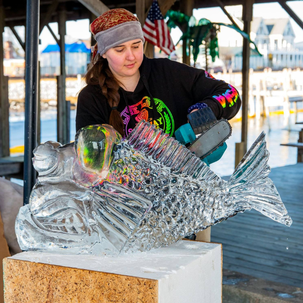 ice carver at work