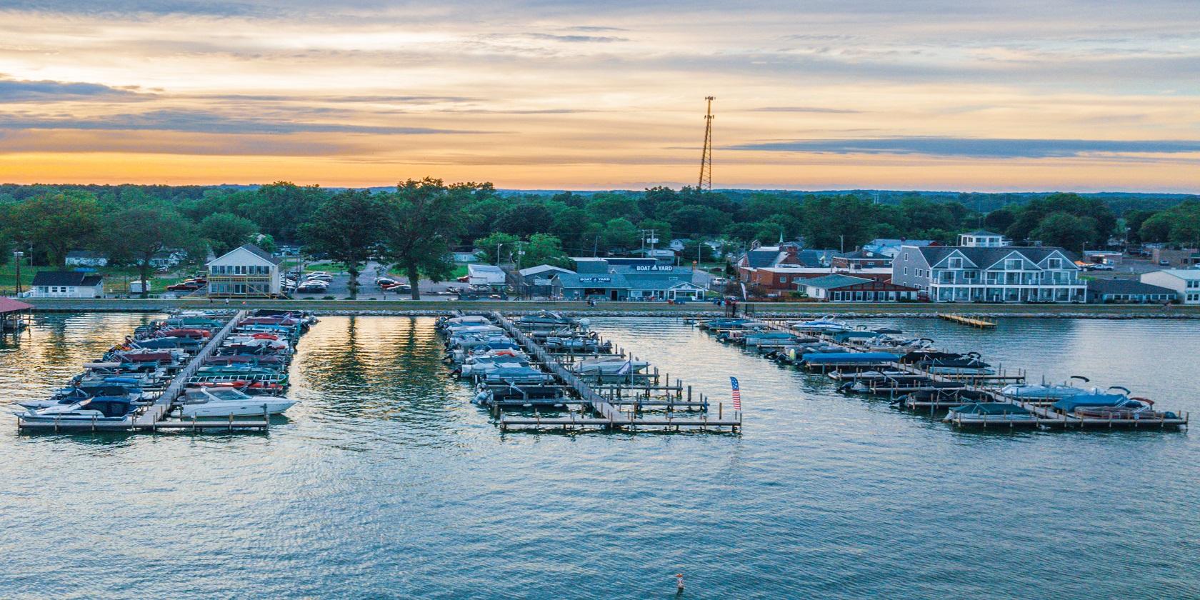 boat docks on the lake